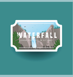 Mountain waterfall and green forest landscape vector