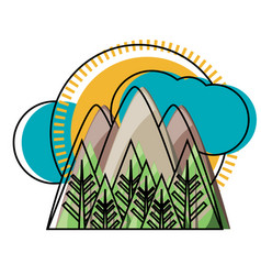 mountains landscape icon image vector image