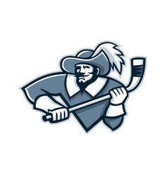 Musketeer ice hockey mascot vector