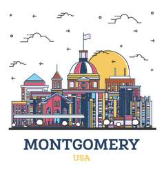 Outline montgomery alabama usa city skyline vector