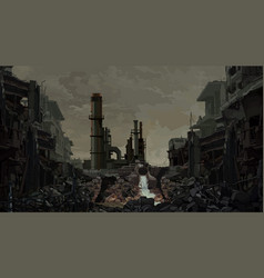 Painted background ruins an industrial plant vector