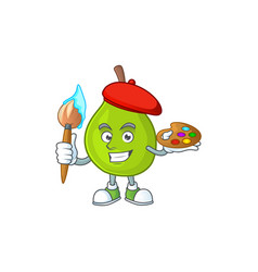 Painter cartoon guava mascot on white background vector