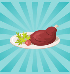 plate with meat and vegetables vector image