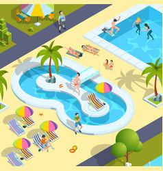 Pool relax people traveller in resort hotel vector