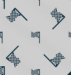 Racing flag icon sign Seamless pattern with vector