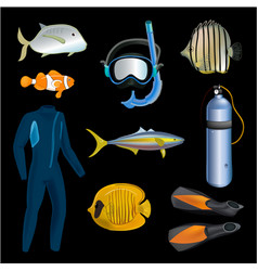 realistic snorkeling and scuba diving set of vector image