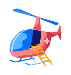 Rescue helicopter flying ambulance with cross on vector