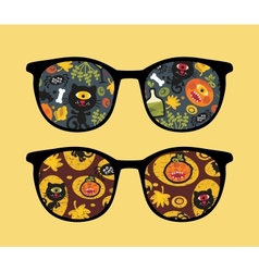 Retro sunglasses with halloween reflection in it vector image