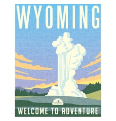 Retro travel poster for Wyoming vector image