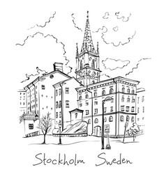 riddarholmen in stockholm sweden vector image
