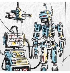 Robot and Computer Technology vector