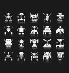 robot white silhouette icons set on black vector image