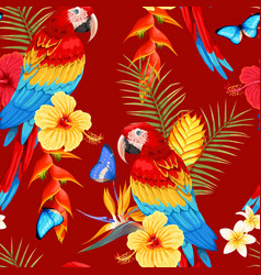 Seamless macaw and flowers vector