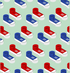 seamless pattern with sneaker shoe trainers in vector image