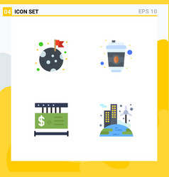 Set 4 modern ui icons symbols signs for flag vector
