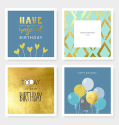 set birthday greeting cards and party vector image