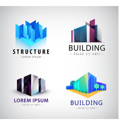 set building logos company icons vector image