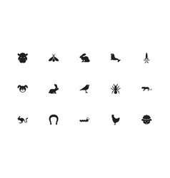 set of 15 editable zoology icons includes symbols vector image