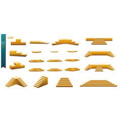set of gold podiums set of different steps of vector image
