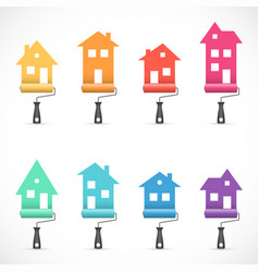Set of house renovation icons painting services vector