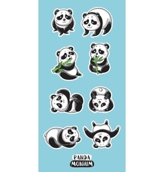 Set of stickers with cute pandas vector