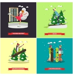 set of winter sports concept posters vector image