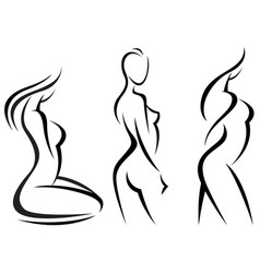 set stylized beautiful women silhouettes vector image