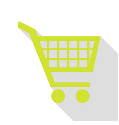 shopping cart sign pear icon with flat style vector image