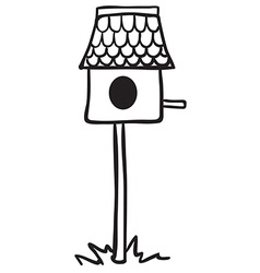 Simple black and white bird house vector