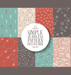 Simple seamless pattern set hipster vintage cute vector