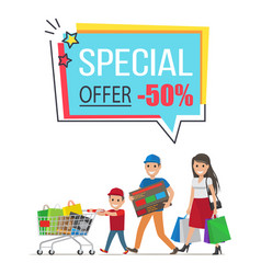 Special offer with 50 off promotional poster vector