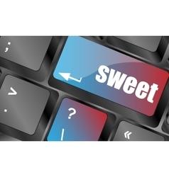 sweet word button on keyboard keyboard keys vector image