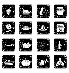 Thanksgiving icons set simple style vector