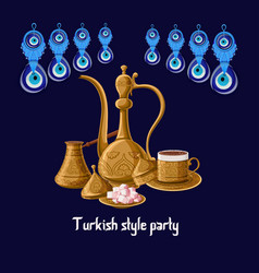 turkish style party greeeting card with evil eyes vector image