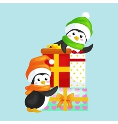 two happy cute christmas penguin in hat and scarf vector image