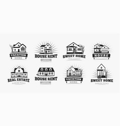 villas icons classic american village house vector image