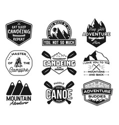Vintage canoe kayaking logos patches set hand vector