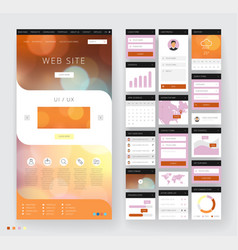 website template design with interface elements vector image