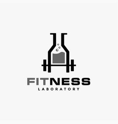 weightlifting and laboratory beaker fitness logo vector image