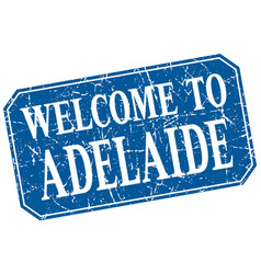 Welcome to adelaide blue square grunge stamp vector