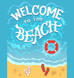 Welcome to beach hand drawn vector