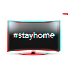 Widescreen tv monitor with stayhome sign vector