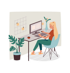 woman at office or home working with computer vector image