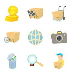 Worldwide company icons set cartoon style vector