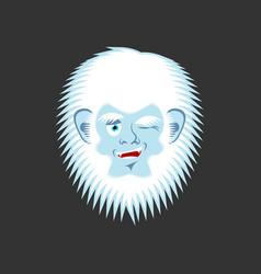 Yeti winks emoji abominable snowman cheerful vector