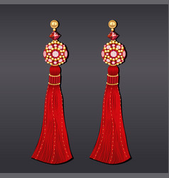 earrings from beads of red and gold with tassels vector image vector image