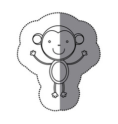 sticker silhouette cute monkey animal vector image vector image