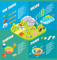 travel infographic in isometric style vector image vector image
