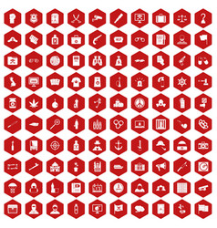 100 crime investigation icons hexagon red vector image vector image