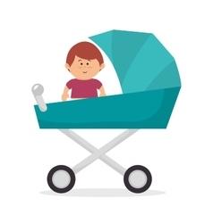 Cute baby on pram vector image